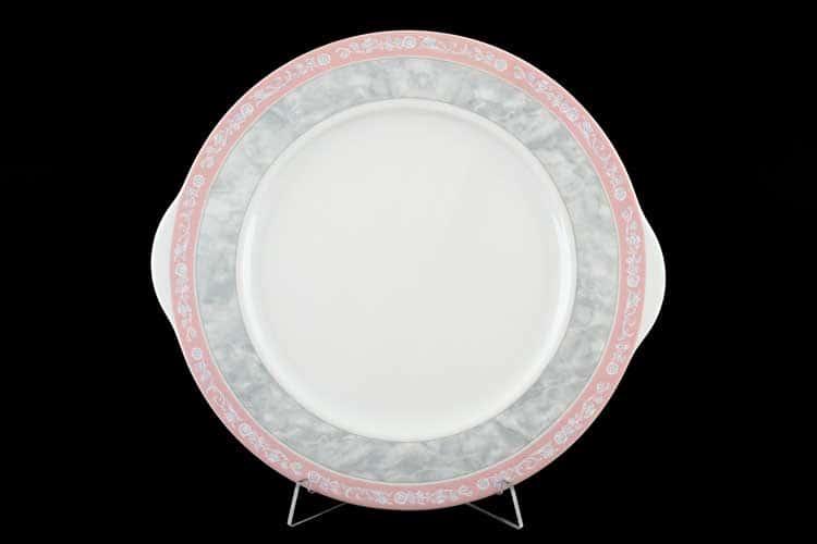 Яна Серый мрамор с розовым кантом Тарелка для торта 27 см Thun