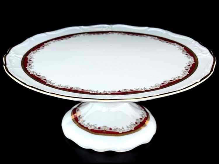 Мария Луиза Красная лилия Тарелка для торта на ножке 32 см Thun