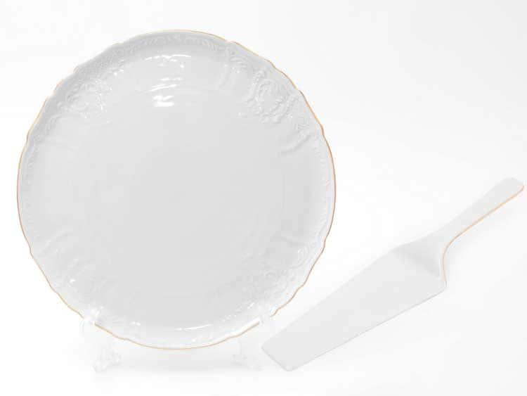 Бернадот белый узор 311011 Тарелка для торта 32 см с лопаткой