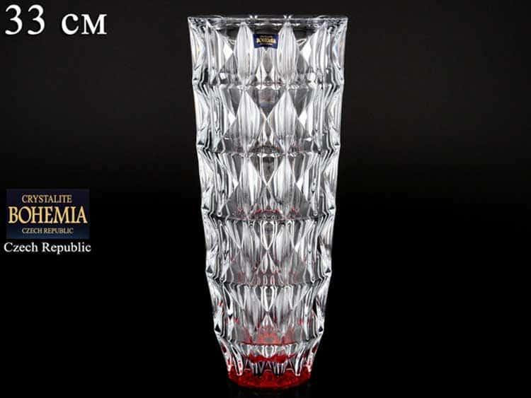 DIAMOND красный Ваза для цветов Crystalite Bohemia 33 см