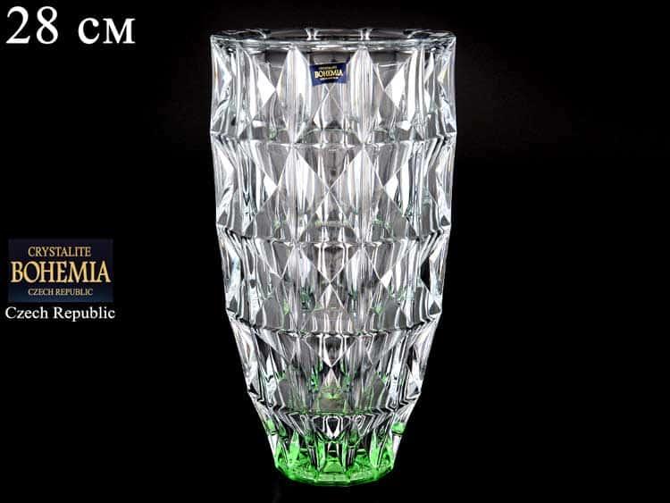 DIAMOND зеленая Ваза для цветов Crystalite Bohemia 28 см