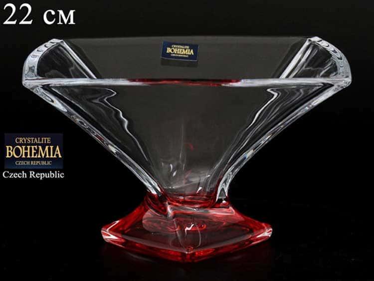 Квадро красная Ваза для конфет Crystalite Bohemia 22 см