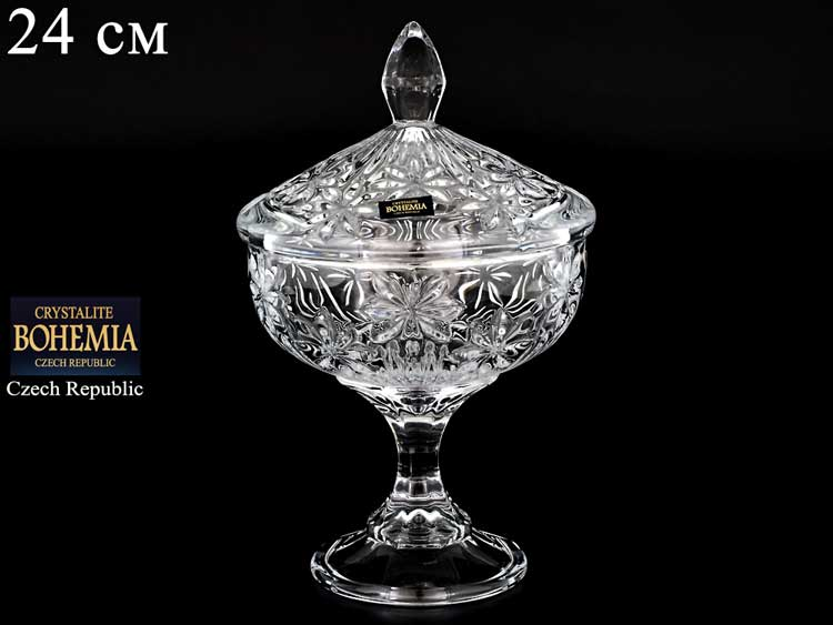 PERSEUS-NOVA Ваза для конфет 14 см на ножке с крышкой Crystalite Bohemia