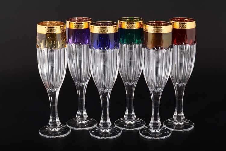 Сафари Арлекино BOHEMIA GOLD Набор фужеров для шампанского 150 мл