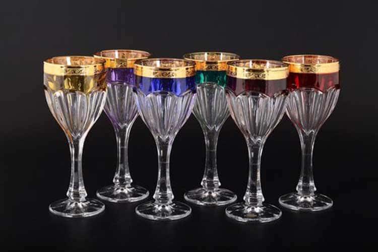 Сафари Арлекино BOHEMIA GOLD Набор бокалов для вина 190 мл (6 шт)