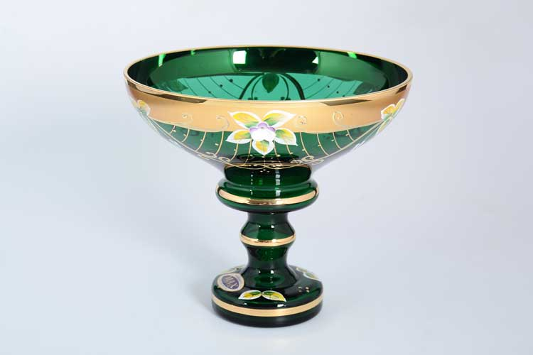 Star Crystal Зеленая лепка Ваза для конфет 16 см на ножке