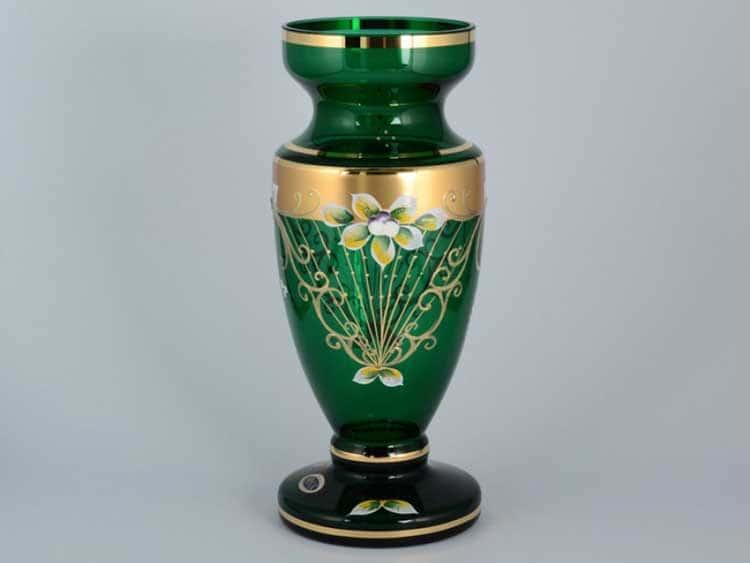 Star Crystal Лепка зеленая Ваза для цветов 30 см Bohemia Max