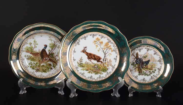 Охота Зеленая Набор тарелок 18 предметов SYKORA