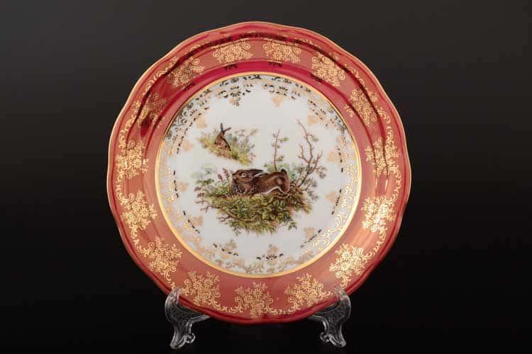 Охота Красная Набор тарелок 19 см SYKORA (6 шт)