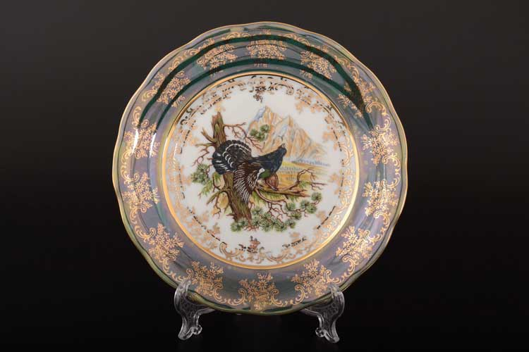 Охота Зеленая Набор тарелок 19 см SYKORA (6 шт)