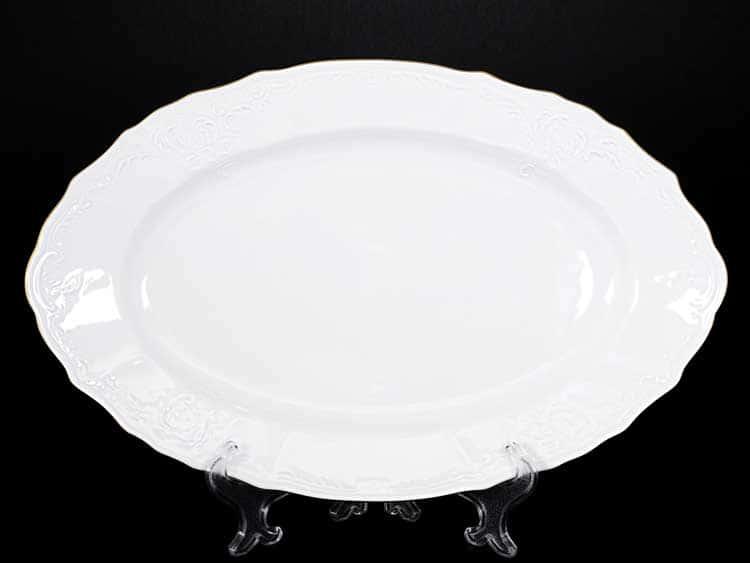 Белый узор Е-М Блюдо овальное 34 см Jeremy