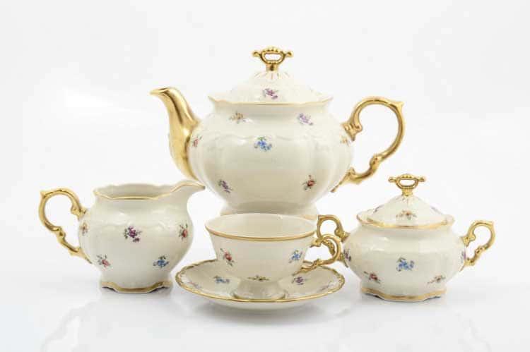 Мария Луиза Слоновая кость Чайный сервиз на 6 персон 17 предметов  Carlsbad