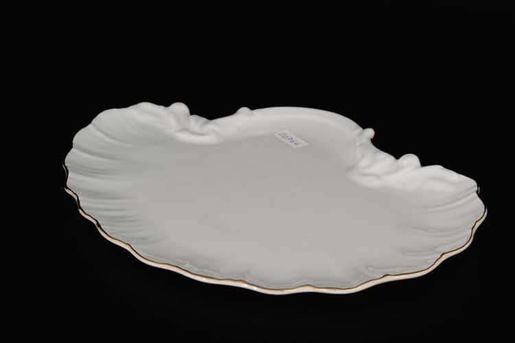 Белый узор Корона Блюдо ракушка 28 см QC