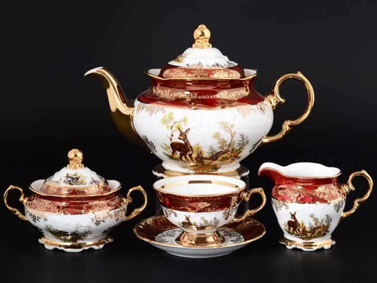 Охота красная Корона Чайный сервиз QC на 6 персон 17 предметов