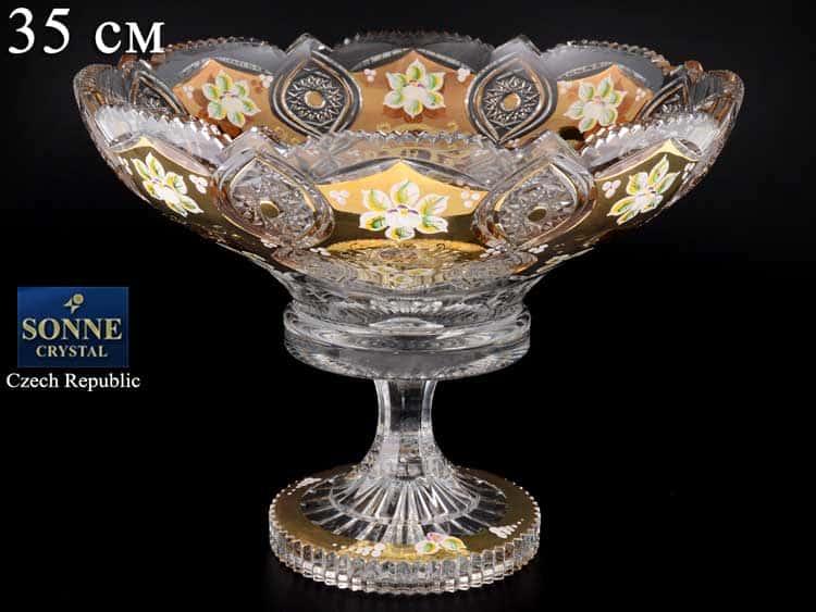 Sonne Crystal Золото Фруктовница 35 см на ножке
