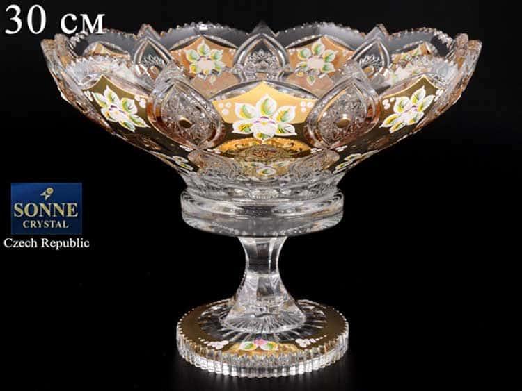 Sonne Crystal Золото Фруктовница 30 см на ножке