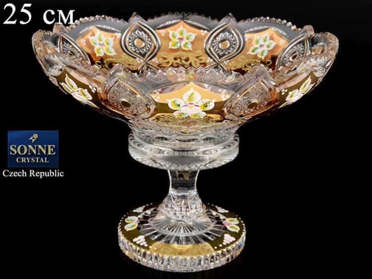 Sonne Crystal Золото Фруктовница 25 см на ножке