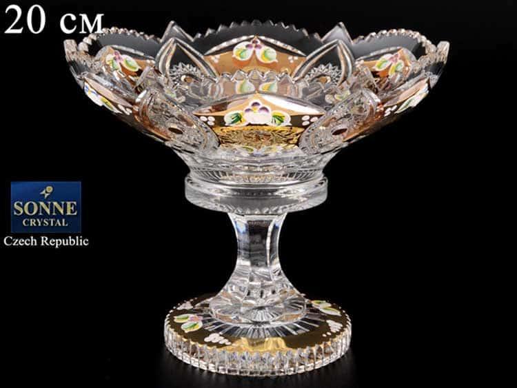 Sonne Crystal Золото Ваза для конфет 20 см на ножке
