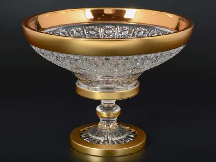 Sonne Crystal Золото Конфетница 25 см на ножке