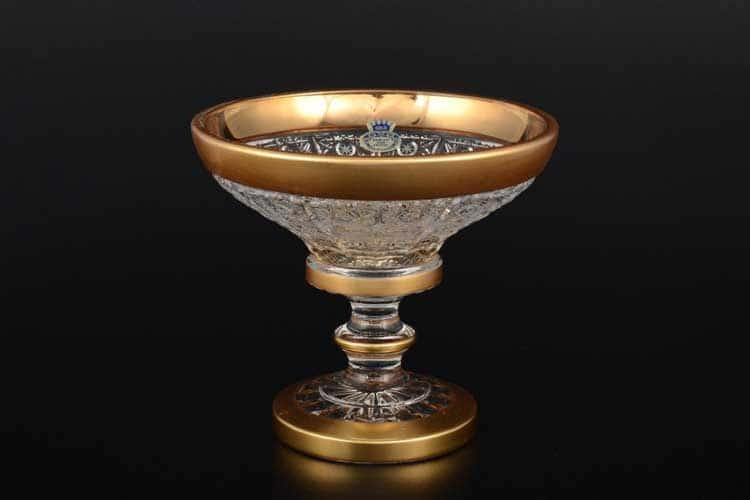Sonne Crystal Золото Конфетница 15 см на ножке