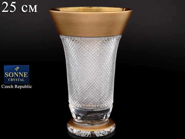 Фелиция Sonne Crystal Золото Ваза для цветов 25 см на ножке