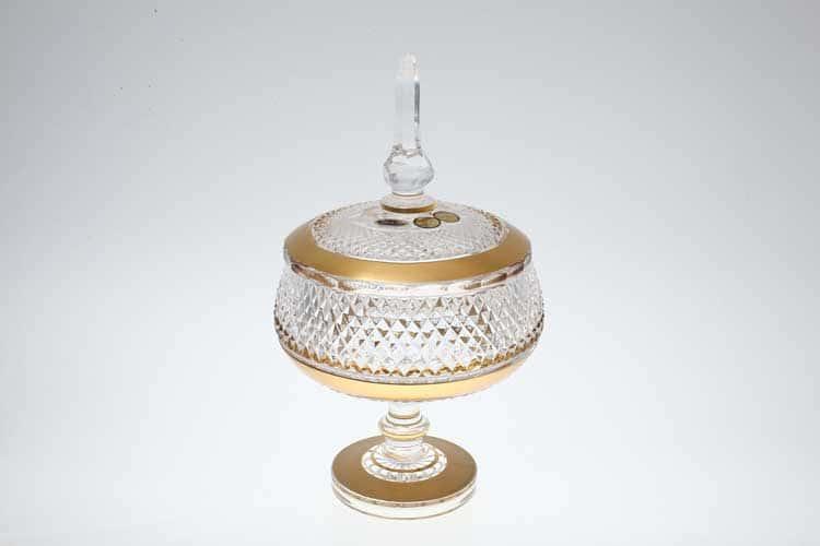 Фелиция Max Crystal Конфетница с крышкой 155 мл хрусталь с золотом