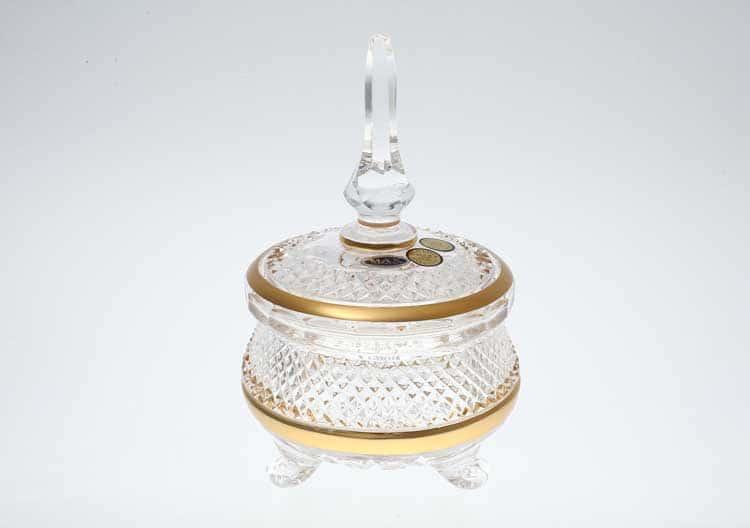 Фелиция Max Crystal Конфетница с крышкой 115 мл хрусталь с золотом