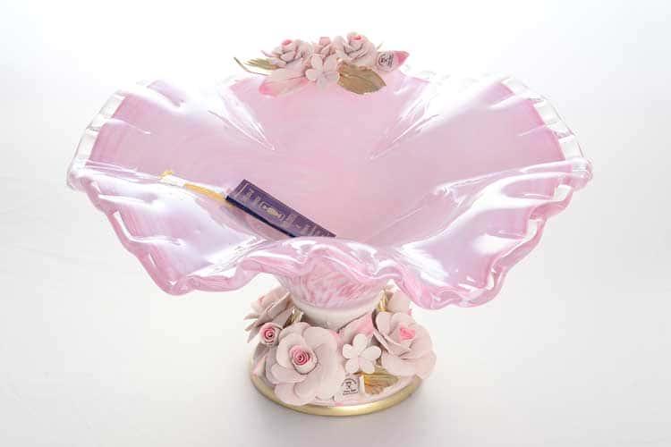 Вайт Кристал Ваза для фруктов на ножке розовая