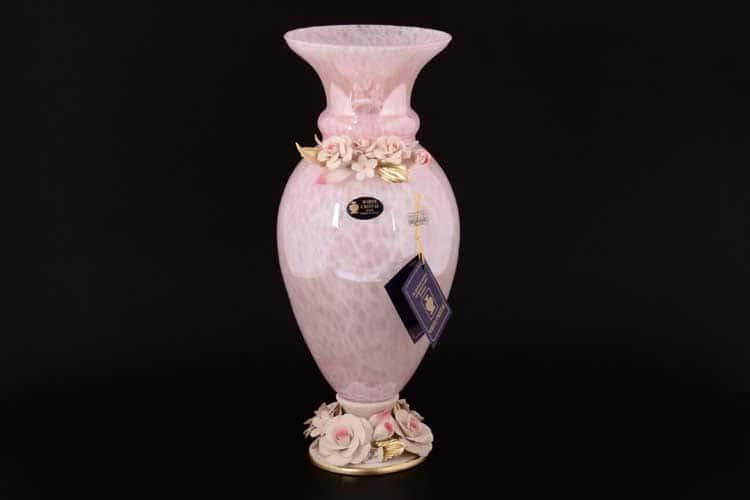 Вайт Кристал Ваза для цветов на ножке розовая