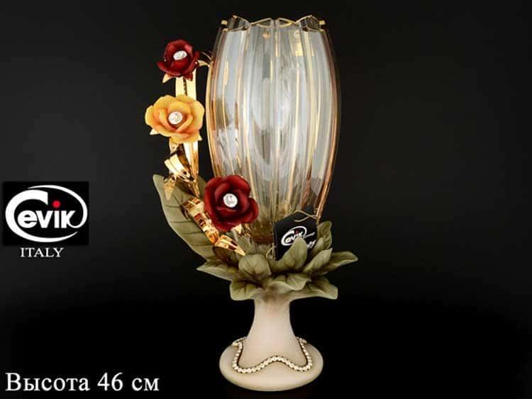 Ваза для цветов 46 см на ножке Cevik group цветы