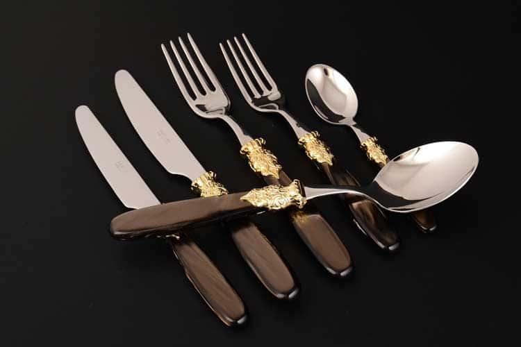 Париж Набор столовых приборов 36 предметов DOMUS из стали коричневая ручка