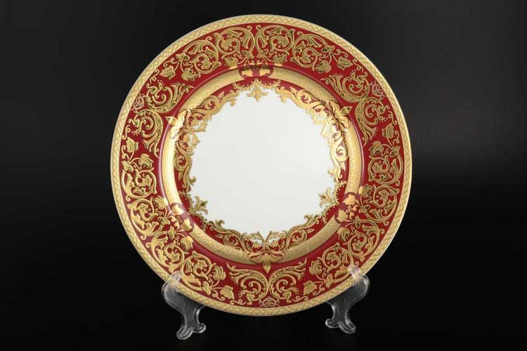 Natalia bordeaux gold Набор тарелок 28,5 см (6 шт) Falkenporzellan