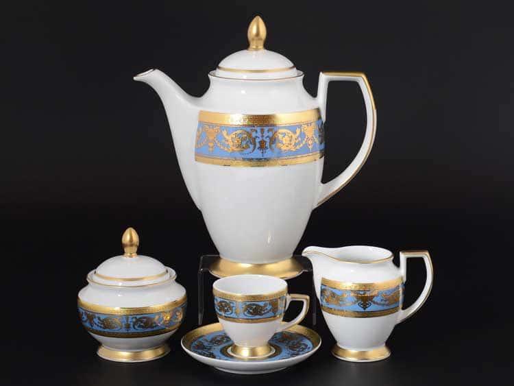 Imperial Blue Gold Кофейный сервиз на 6 персон 17 предметов FalkenPorzellan