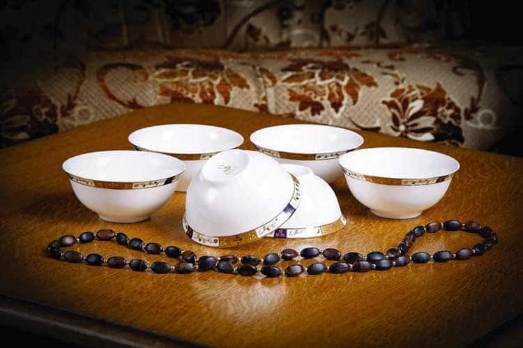 Золотая веточка Костяной фарфор АККУ набор пиал
