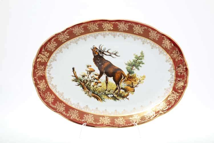 Фредерика Охота Красная Блюдо овальное 36 см Carlsbad