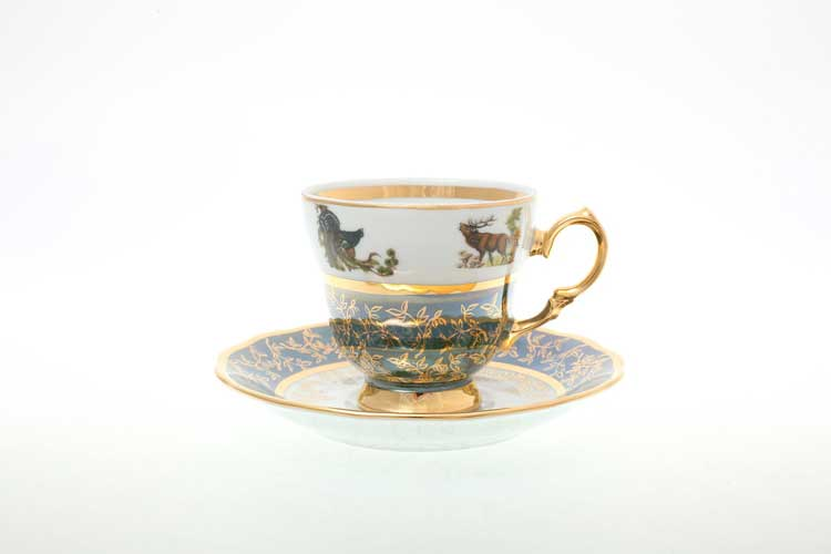 Охота Зеленая Набор кофейных пар 140 мл Sterne porcelan