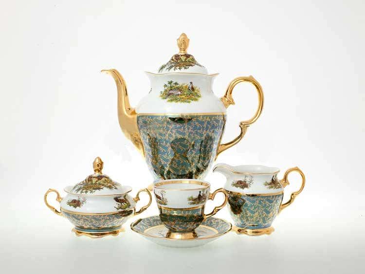 Охота Зеленая Кофейный сервиз на 6 персон 17 предметов Sterne porcelan