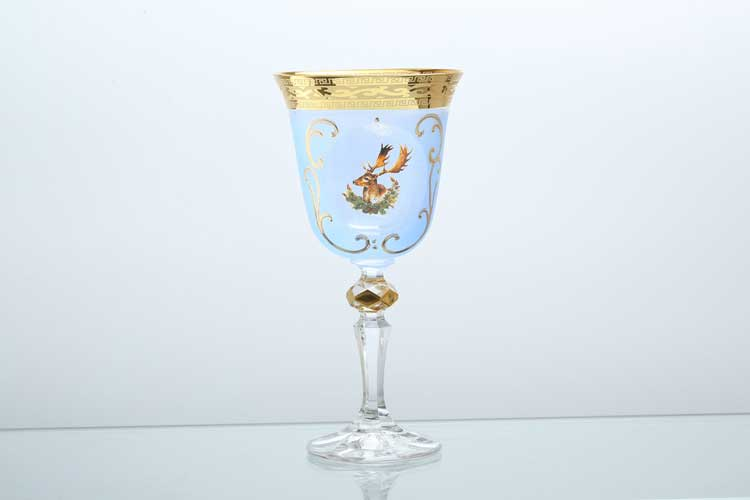 Набор бокалов для вина 220 мл Охота синяя bohemia
