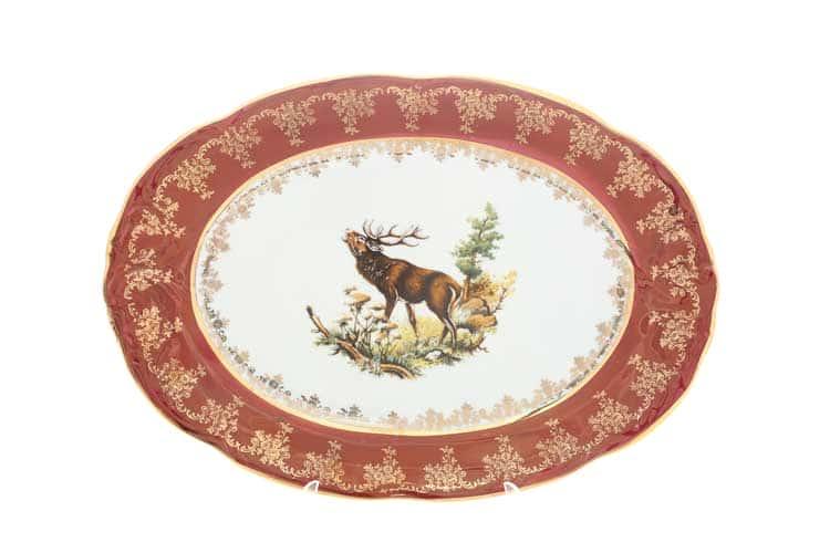 Охота красная Корона Блюдо овальное 38 см QC
