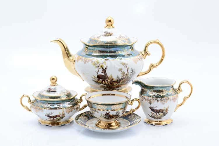 Охота зеленая Корона Чайный сервиз на 6 персон 15 предметов QC