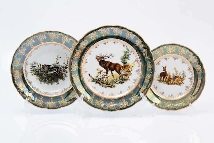 Охота зеленая Корона Набор тарелок 18 предметов QC