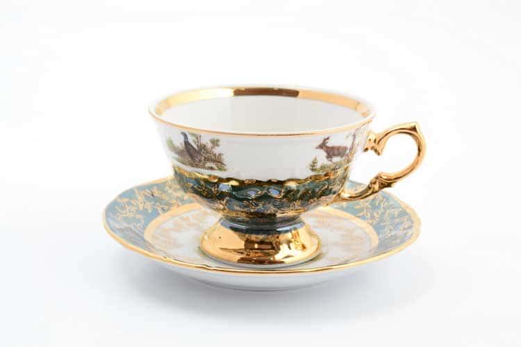 Охота Зеленая Набор чайных пар 220 мл Sterne porcelan (6 пар)