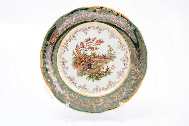Охота Зеленая Набор тарелок 21 см Sterne porcelan