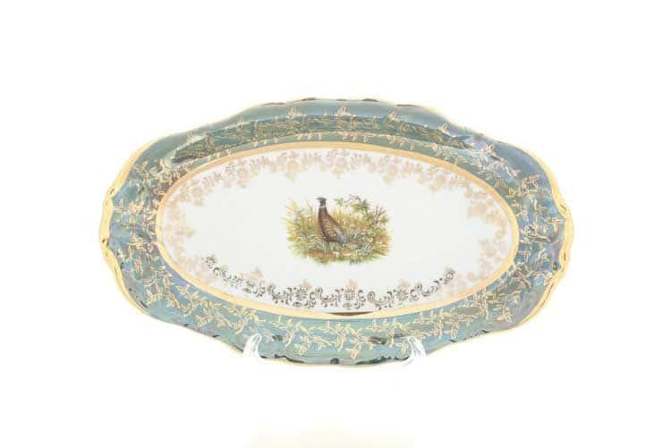 Охота Зеленая Блюдо овальное 24 см Sterne porcelan
