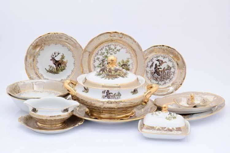Охота Бежевая Столовый сервиз 27 предметов Sterne porcelán