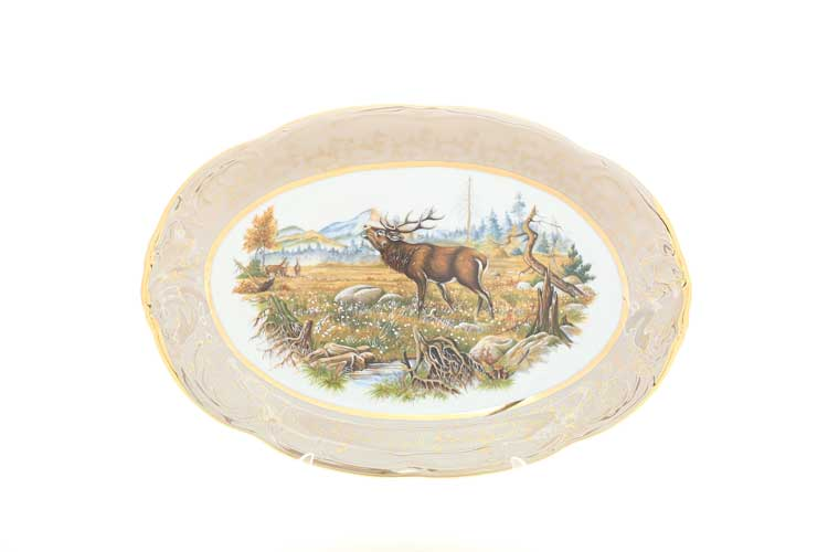 Охота Бежевая Блюдо овальное 33 см Sterne porcelan