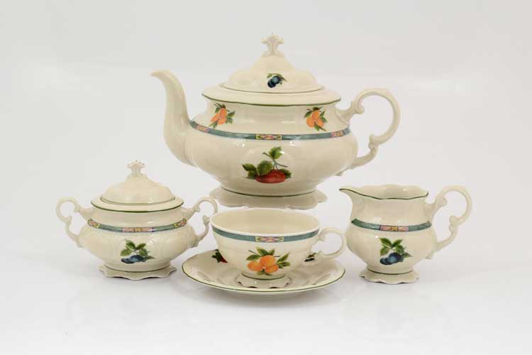 Соната Фруктовый сад Слоновая кость Чайный сервиз на 6 персон 17 предметов Leander