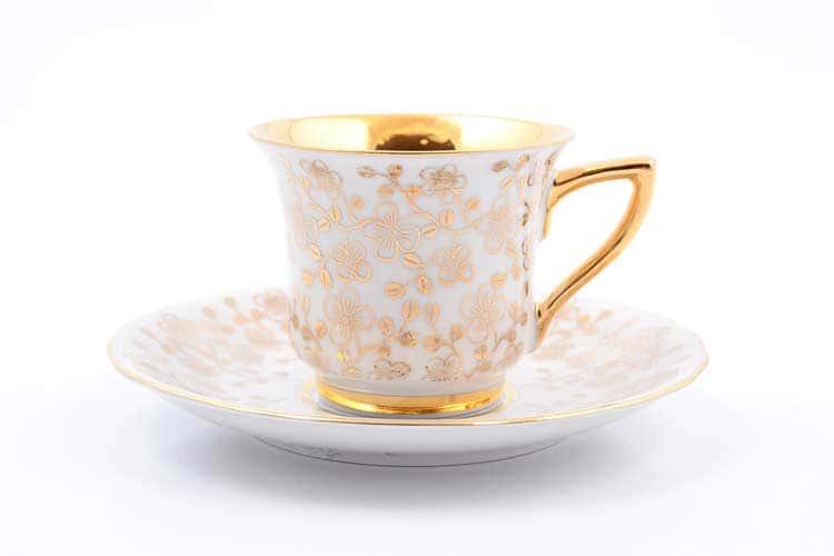 Виндзор золотые цветы, белый Чашка с блюдцем Leander 100 мл