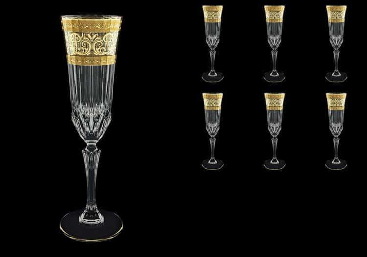 Adagio Allegro Golden Light Decor Набор фужеров для шампанского 180 мл Astra Gold (6 шт)