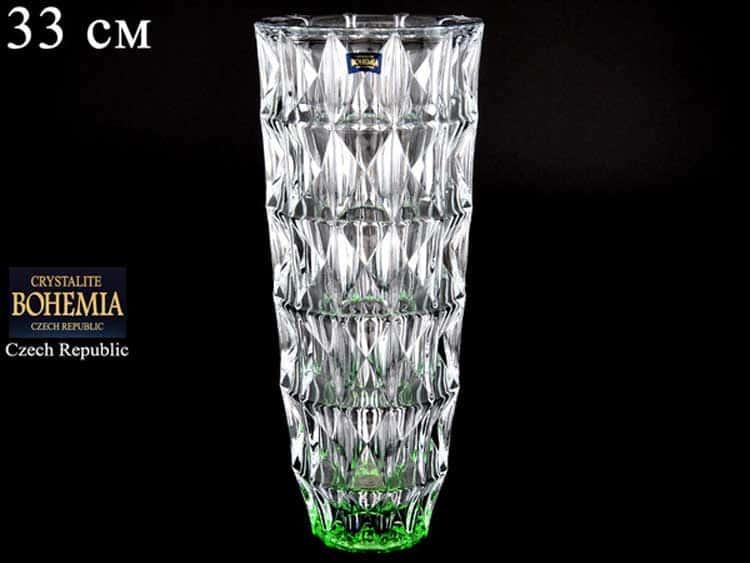DIAMOND зеленая Ваза для цветов Crystalite Bohemia 33 см